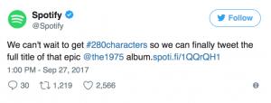 F6 Agency_Coffee break_Twitter 280 characters_Spotify tweet